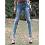 Light Color Star Pattern Ripped Jeans