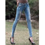 cheap Light Color Star Pattern Ripped Jeans
