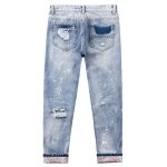 Wash Bleach Destroyed Painted Jeans photo