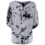 cheap Scoop Neck Dolman Sleeve Tie-Dyed T-Shirt