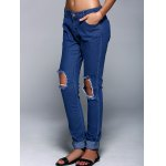 Button Fly Broken Hole Design Pencil Jeans deal
