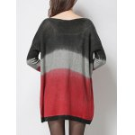 Casual Style Jewel Neck Ribbed Sleeve Tie-Dye Sweater For Women deal