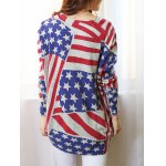 Fashionable Scoop Neck Long Sleeve Flag Print Sweater For Women deal