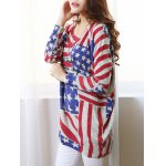 cheap Fashionable Scoop Neck Long Sleeve Flag Print Sweater For Women