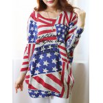 Fashionable Scoop Neck Long Sleeve Flag Print Sweater For Women