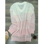 Fashion V-Neck Ombre High Low Hem Sweater For Women photo