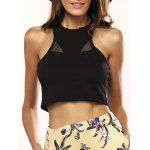 Attractive See-Through Solid Color Crop Top For Women