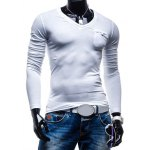 cheap Brief Style Pure Color Pocket Design Long Sleeve Tee For Men