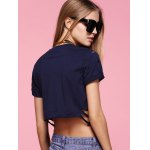 Chic Round Neck Broken Hole Printed Women's Crop Top for sale