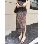 Chic Women's Side Slit Peacock Feather Chiffon Skirt for sale