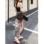 Chic Women's Side Slit Peacock Feather Chiffon Skirt deal