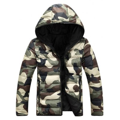 Camo Zip Up Double Sided Wear Hooded Padded Coat