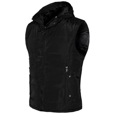 Snap Button Design Zip Up Hooded Padded Waistcoat