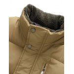 cheap Snap Button Zippered Plush Stand Collar Padded Waistcoat For Men