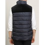 Zip Up Pocket Spliced Stand Collar Padded Waistcoat For Men deal
