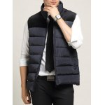 Zip Up Pocket Spliced Stand Collar Padded Waistcoat For Men
