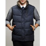 Zippered Snap Button Design Stand Collar Padded Waistcoat For Men