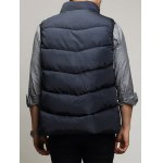 Zippered Snap Button Design Stand Collar Padded Waistcoat For Men deal