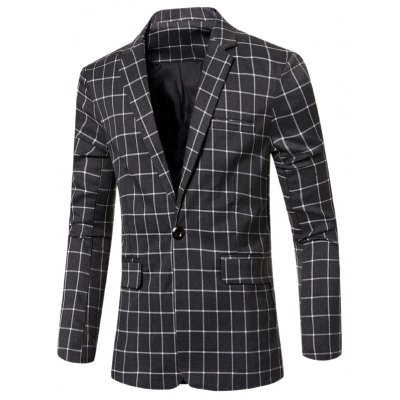 Notched Lapel Collar Single Button Checked Blazer For Men