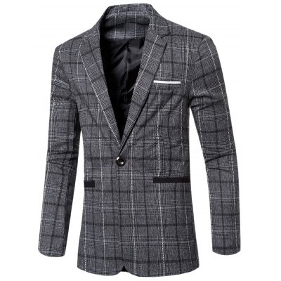 Notched Lapel Collar Single Button Slim Fit Striped Blazer For Men