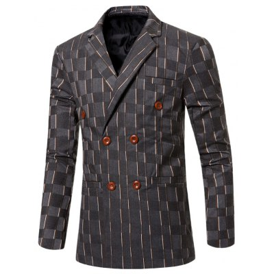 Notched Lapel Collar Double Breasted Striped Blazer For Men