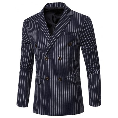 Striped Notched Lapel Collar Long Sleeve Blazer For Men