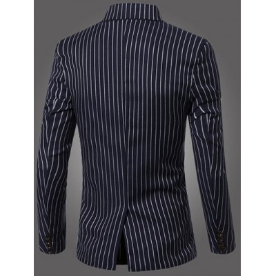 Classic Striped Notched Lapel Collar Long Sleeve Blazer For Men