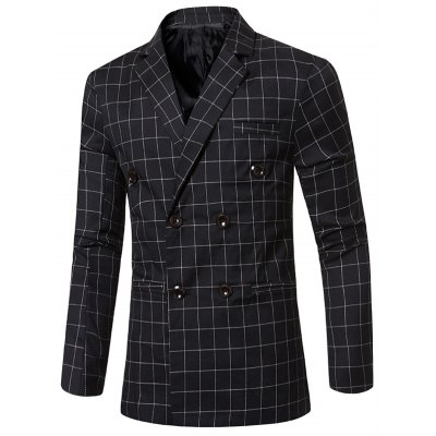 Checked Notched Lapel Collar Long Sleeve Blazer For Men