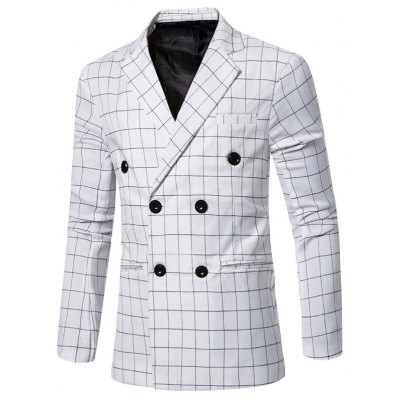 Classic Notched Lapel Collar Checked Double Breasted Blazer For Men