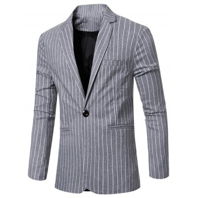Striped Notched Lapel Collar Single Button Slim Fit Blazer For Men