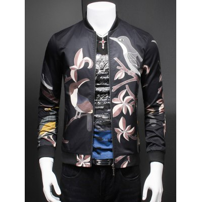 Birds Print Stand Collar Long Sleeve Jacket