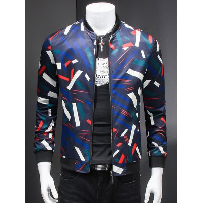 Stand Collar Long Sleeve 3D Geometric Print Jacket