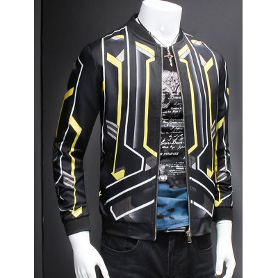 3D Geometric Print Stand Collar Long Sleeve Jacket For MenMens Jackets &amp; Coats<br>3D Geometric Print Stand Collar Long Sleeve Jacket For Men<br><br>Clothes Type: Jackets<br>Style: Casual<br>Material: Cotton,Polyester<br>Collar: Stand Collar<br>Clothing Length: Regular<br>Sleeve Length: Long Sleeves<br>Season: Fall,Spring<br>Weight: 0.466kg<br>Package Contents: 1 x Jacket
