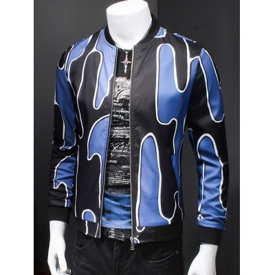 Abstract 3D Print Ribbed Collar Long Sleeve Jacket For Men
