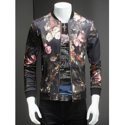 Trendy Roses Print Stand Collar Long Sleeve Jacket