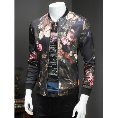 Trendy Roses Print Stand Collar Long Sleeve JacketMens Jackets &amp; Coats<br>Trendy Roses Print Stand Collar Long Sleeve Jacket<br><br>Clothes Type: Jackets<br>Style: Casual<br>Material: Cotton Blends<br>Collar: Stand Collar<br>Clothing Length: Regular<br>Sleeve Length: Long Sleeves<br>Season: Fall,Spring<br>Weight: 0.564kg<br>Package Contents: 1 x Jacket