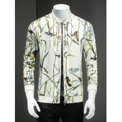 Article Painting Print Ribbed Collar Long Sleeve Jacket For Men