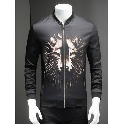 Wolf Print Ribbed Collar Long Sleeve Jacket For Men