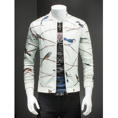 Birds Print Ribbed Collar Long Sleeve White Jacket For Men