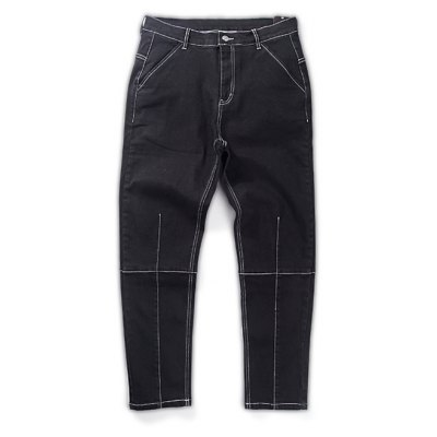Stitching Solid Color Splicing Jeans
