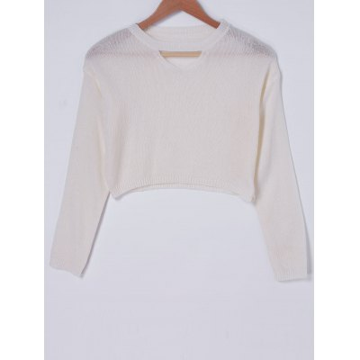 Fashionable RoundNeck Cut Out Knit Crop Top For Women
