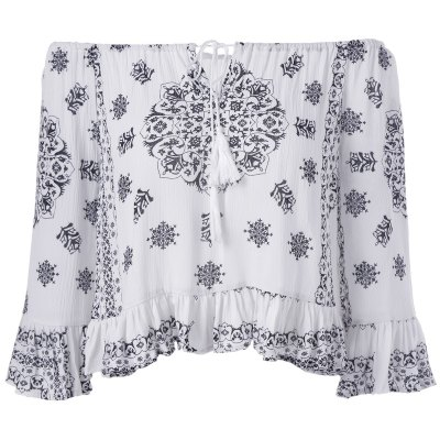 Ethnic Style Tie Neck Print Off The Shoulder Crop Top For Women