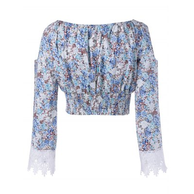 Stylish Off The Shoulder Print Cut Out Sleeves Crop Top For Women