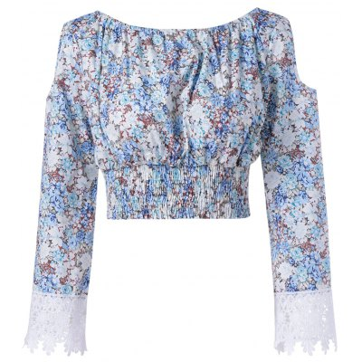 Print Off The Shoulder Cut Out Sleeves Crop Top For Women