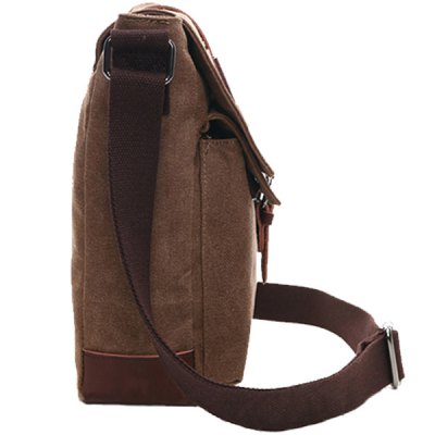 Concise Color Block and Buckle Design Messenger Bag For Men