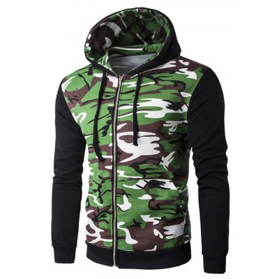 Hooded Camouflage Splicing Zip-Up Long Sleeve Hoodie For Men