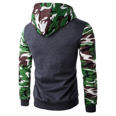 Hooded Camouflage Spliced Zip-Up Long Sleeve Hoodie For MenMens Hoodies &amp; Sweatshirts<br>Hooded Camouflage Spliced Zip-Up Long Sleeve Hoodie For Men<br><br>Material: Cotton,Polyester<br>Clothing Length: Regular<br>Sleeve Length: Full<br>Style: Fashion<br>Weight: 0.460kg<br>Package Contents: 1 x Hoodie