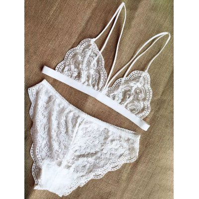 Solid Color Strappy Lace Bra and Briefs Lingeries Suit
