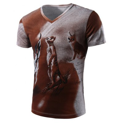3D Animal Print V-Neck Short Sleeve For Men