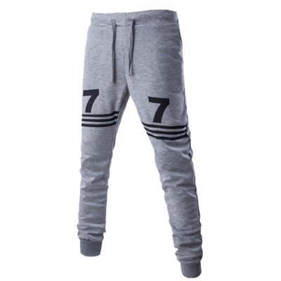 Lace-Up Stripe and Number Print Beam Feet Pants For Men